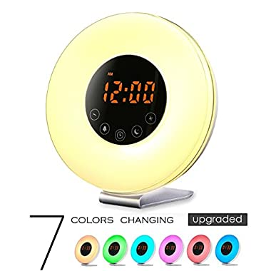Wake Up Light Alarm Clock, [UPGRADED] Digital Alarm Clock with Sunrise Simulation, 7 Colors Night Light, 6 Nature Sounds, FM Radio for Bedrooms and Heavy Sleepers
