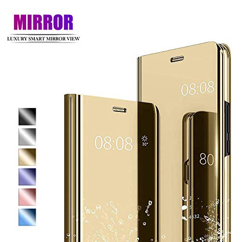 NUONA für iPhone 11 Pro Max Hülle, Spiegel Mirror Handyhülle Schutzhülle Folio Flip Lederhülle Etui [Clear View] [Standfunktion] [Anti-Scratch] Tasche Hülle Case Cover für iPhone 11 Pro Max, Gold