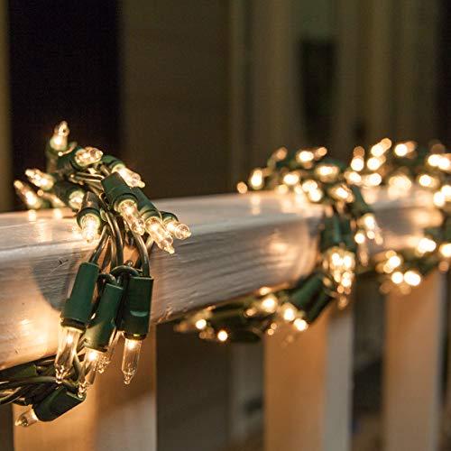 9' Clear Garland Lights on Green Wire – Garland Outdoor Lights Garland Christmas Outdoor Lights, Garland String Lights (9 Ft, 300 Lights, Clear Lights on Green Wire)