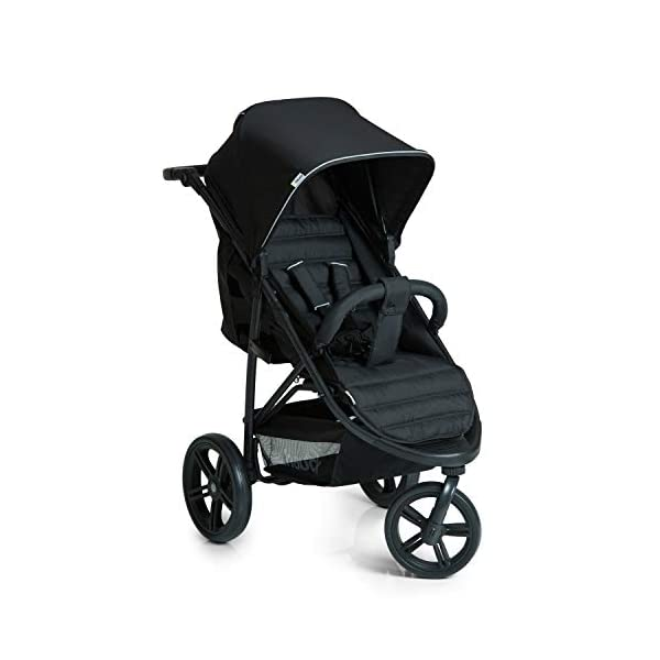 Hauck Rapid 3 Wheel Pushchair up to 25 kg with Lying Position from Birth, Small Foldable with One Hand, Height Adjustable Push Handle, Large Basket - Black Hauck LONG USE: The pushchair is suitable from birth (in lying position or in combination with the separate 2-in-1 Carrycot) and loadable up to 25 kg (seat unit 22 kg + basket 3 kg) EASY TO FOLD: This stroller folds away compactly and can be then carried with one hand only by the release loop COMFORTABLE: For the kid thanks to backrest and footrest adjustable into flat position, as well as for parents thanks to height-adjustable handle and large shopping basket 9