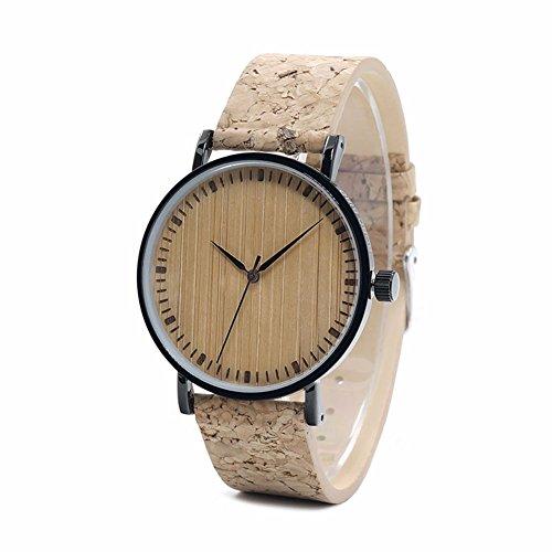 Dxlta Quarzuhr Holz Armbanduhr für Damen Herren Outdoor mit Kork Armband Herrenuhren Damenuhr Uhr Geschenke