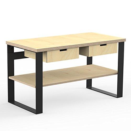 AUPROTEC Profi Design Werkbank 1400 x 750 x 850 mm Arbeitsplatte Multiplex 40mm mit 2 Schubladen und Ablage Holz Werkbankplatte Multiplexplatte Industriequalität Massiv Arbeitstisch