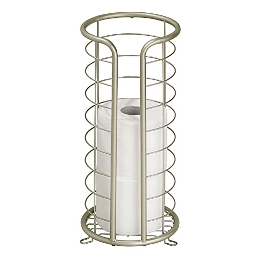 mDesign Metal Free Standing Toilet Paper Organizer Stand, 3 Rolls of Jumbo Toilet Tissue Storage,...