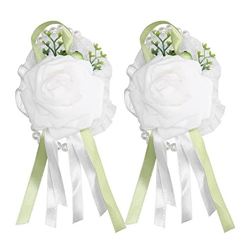 Flor de muñeca, Fiesta de graduación Flor de Mano Ramillete de muñeca Decoración de Boda para Fiestas de Baile(White)