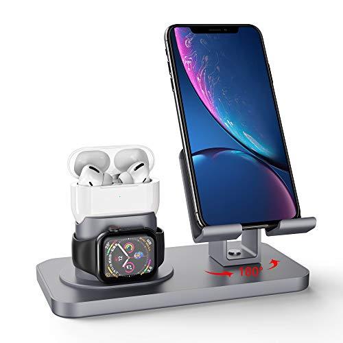 Imguardz Soporte de Carga 3 en 1, estación de Carga Universal para Airpods Pro 2/1 Apple Watch Series 5/4/3/2/1 iPhone Android Smartphone iPad Tablet, Oro Rosa