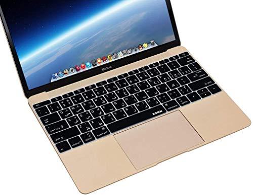 『MacBook 12(A1534)用のXSKNアラビア語言語のシリコーンカバー新しいMacBook Pro 13(A1708、No Touch Bar)キーボード - USレイアウト (ブラック)』の5枚目の画像