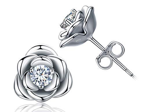 Vergoldete Sterling Silber Rose Blumen Ohrstecker Ohrringe, Hypoallergene & Nickelfreie Ohrringe für Frauen, Damen Ohrringe (Weißgold / Gelbgold / Roségold)