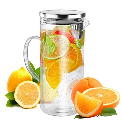 Kühlschrankkrug Glaskaraffe ca. 1,3 L mit Deckel Ausgießer und Sieb - Wasserkrug Saftkaraffe hitzebeständig transparent Ø ca. 10cm ca. 22cm hoch - Behälter Krug Karaffe für alle Getränke