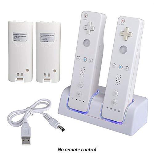 QLING - Estación de carga dual para mando a distancia Nintendo Wii, estación de carga Wii Nintendo Gamepad con 2 baterías recargables de 2800 mAh y cable USB, Blanco, Tamaño libre