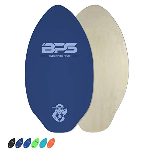 BPS 'Shaka' 40' Skimboard - Epoxy Coated Wooden Skim Board with Traction Pad - No Wax Needed - Skim Board for Kids and Adults - Large Skim Board (Blue with White)