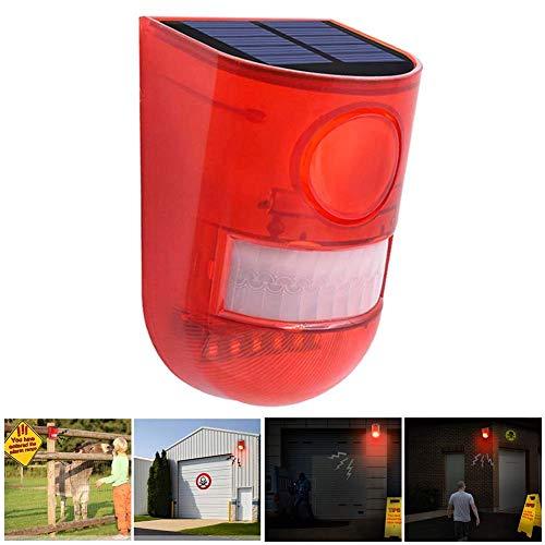 bqmqolove Alarma de luz Solar de Sonido LED Luz estroboscópica 110dB Sistema de Alarma de Seguridad de Sirena ruidosa Sensor de Movimiento de 24 Horas para casa Villa Jardín al Aire Libre Granja