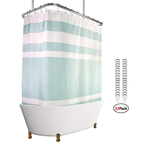 Riyidecor Polyester Fabric Clawfoot Tub Shower Curtain 180x70 Inch White All Wrap Around Decor Panel Set Waterproof Green Striped with 32-Pack Metal Shower Hooks