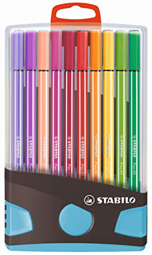 Feutre dessin- STABILO Pen 68 - Étui ColorParade Gris / Turquoise x 20 Feutres- Coloris Assortis