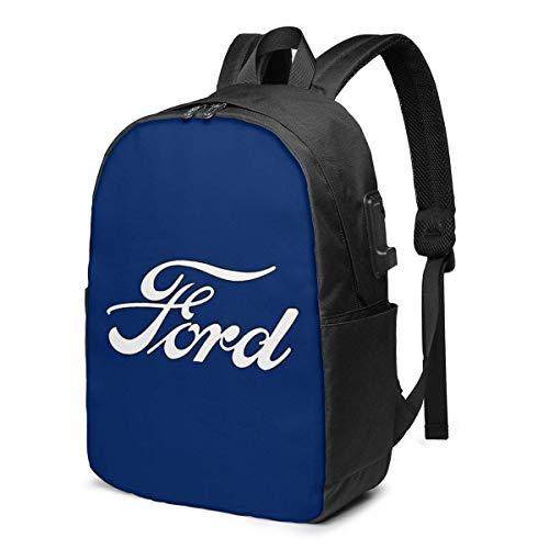 Rononand backpack Zaino Con porta di ricarica USB Zaino per laptop impermeabile casual elegante Borsa da viaggio ultraleggera Loghi per auto classicheFord