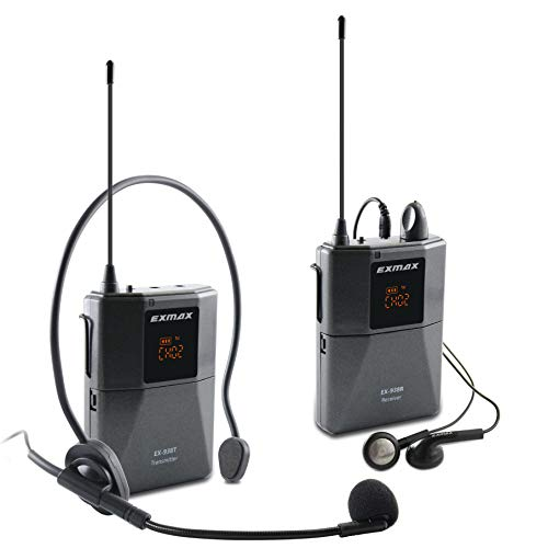 EXMAX EX-938 Wireless Audio Transmission Tour Guide System Overcoming Enviroment Noise Human Translator in Your Ear for Church Translation Simultaneous Interpretation Assisted Listening (1T1R)