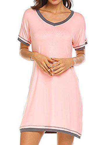 Women's Nightdress V Neck Short Sleeve Nightshirt Casual Loose Soft Cotton Home T-Shirt Dress Nightwear Nightgowns Jersey Night Shirt Nightie Sleepwear Loungewear (Pink, XL)