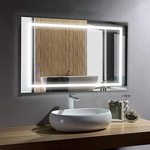 LED Badspiegel 50x70 cm, BONADE Badezimmerspiegel mit Beleuchtung Dimmbar Wandspiegel LED mit Touch Schalter Badspiegel Anti-Beschlag IP65, Lichtspiegel Warmweiß/Naturweiß/Kaltweiß