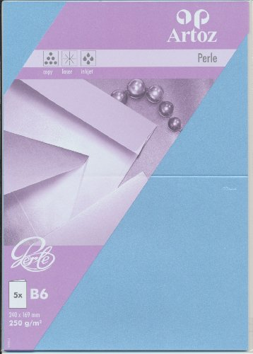Artoz Papier AG - Doppelkarte Perle B6 5er-Pack wasserblau