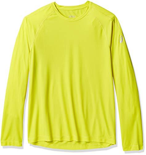 ASICS T-Shirt à Manches Longues pour Homme. Petit Vert soufre.