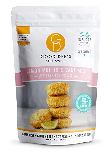 Good Dee's Lemon Muffin & Cake Baking Mix - Low Carb Keto Baking Mix (2g Net Carbs, 12 Servings) | Sugar-Free, Gluten-Free, Grain-Free, Dairy-Free & Soy-Free | Diabetic, Atkins & WW Friendly