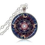 Metatron Cube Colgante Collar Geometría Sagrada Flor de la Vida Joyería Chakra Collar Espiritual Mujeres Magia Hexagrama Gargantilla