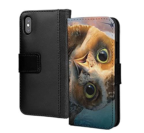 Lindo búho en el cielo diseñador Flying Bird pu cuero cartera en tarjeta teléfono caso cubierta para iPhone 7