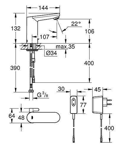 Grohe – IR Waschtisch-Sensorarmatur, Mischbatterie, mit Steckertrafo, Chrom, Eurosmart Cosmopolitan E - 4