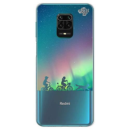 BJJ SHOP Custodia Trasparente Slim per [ Xiaomi Redmi Note 9s / Xiaomi Redmi Note 9 PRO ], Cover in Silicone Flessibile TPU, Design: Bambini dell Aurora boreale con Bicicletta e Cane