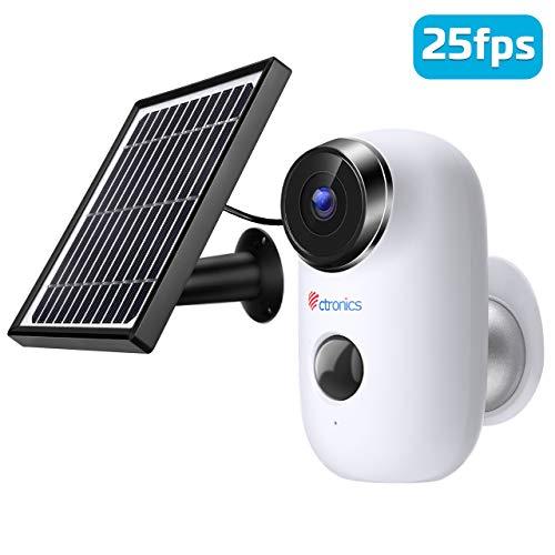 Ctronics Akku Überwachungskamera mit Solarpanel, 1080P WLAN IP Kamera mit Wiederaufladbarer Batterie, PIR Bewegungsmelder, 30m IR Nachtsicht, 2-Wege-Audio Kabellose Kamera