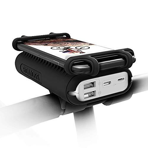 ROMOSS 自転車 スマホ ホルダー モバイルバッテリー搭載 モバイルバッテリー付き 携帯ホルダー サイクリング 10000mAh 大容量 シリコーン製 Android/iPhone全機種対応 脱落防止 UR01(ブラック)