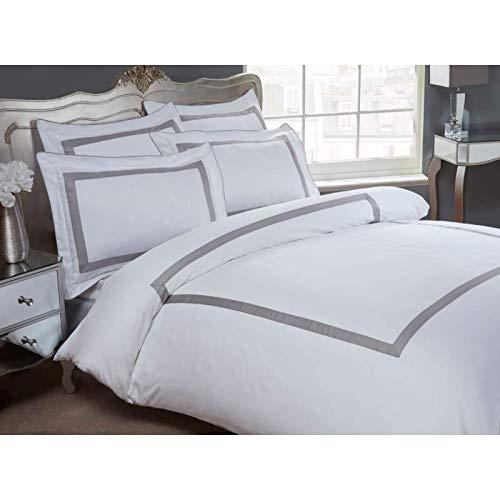 Dorchester Oceania Duvet Cover Set, 100% Egyptian Cotton, 300 Thread Count, Silver-King