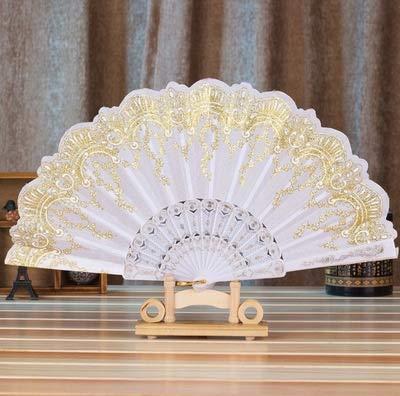 weichuang Abanico de decoración de abanicos para manualidades, estilo chino/español, baile, boda, fiesta, encaje, seda, plegable, para regalo para recuerdo al por mayor (color: blanco)