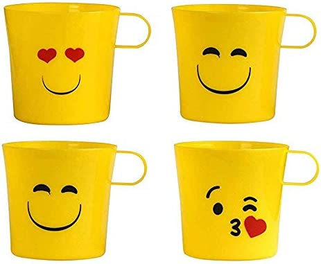 Plastic Emoji Unique Coffee Mugs Drinkware - 4 Pack - 9 Oz - Emoticons Coffee Cups, Heart Eyes, Sunglasses Perfect for Birthday, Party Favors and Gifts