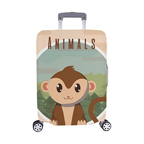 (Solo Cubrir) Mono Lindo Tarjeta Animal Trolley Maleta de Viaje Protector de Maleta Cubierta Protectora para 28.5 X 20.5 Inch