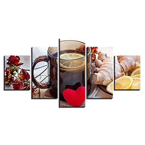 Murturall 5 stuks afdrukken op canvas schilderijen voor keuken muur Artfruits gember citroen thee poster Hd afdrukken foto's Home restaurant Decor 100x55cm