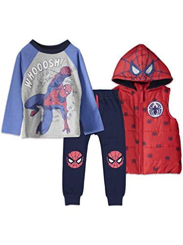 Marvel Spiderman Baby Boys T-Shirt Pants Hooded Vest Set 18 Months