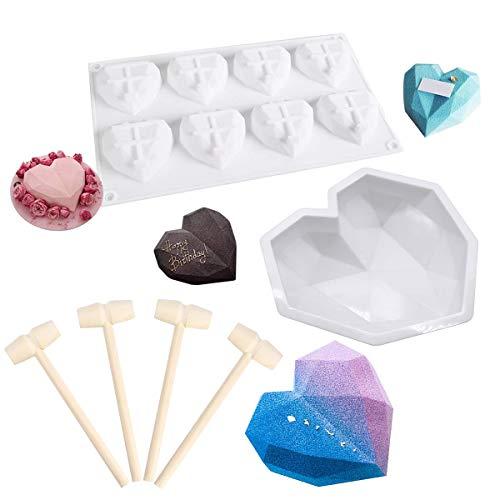 Molde de silicona con forma de corazón de 8.75 pulgadas con 4 martillos de madera y 8 cavidades en forma de corazón para jabón, chocolate hecho a mano, para hornear pasteles y mousse