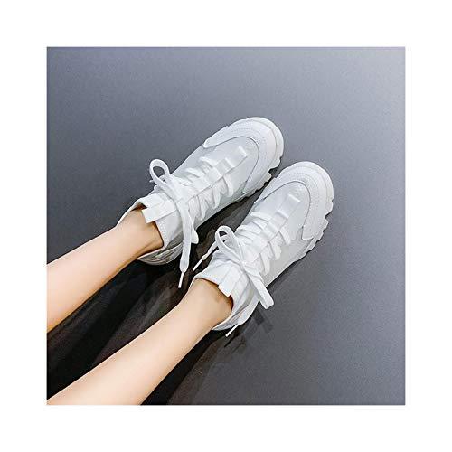 HaoLin Plataforma Zapatos para Aumentar La Altura Zapatos para Caminar Zapatillas de Deporte Zapatos con Cuñas Ocultas Zapatillas Deportivas para Exteriores Zapatos,White-34 EU