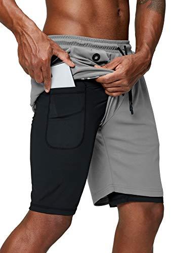 Pinkbomb - Pantalones cortos para hombre, 2 en 1, para correr, gimnasio, entrenamiento, secado rápido, con bolsillo para teléfono - Gris - XX-Large