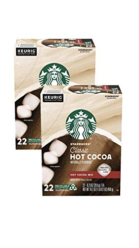 Starbucks K Cups Classic Hot Cocoa - 44 K Cups Total - Pack of 2 Boxes - 22 K Cups Per Box - Bulk Starbucks Hot Cocoa K Cups - For Use of Keurig Coffee Makers