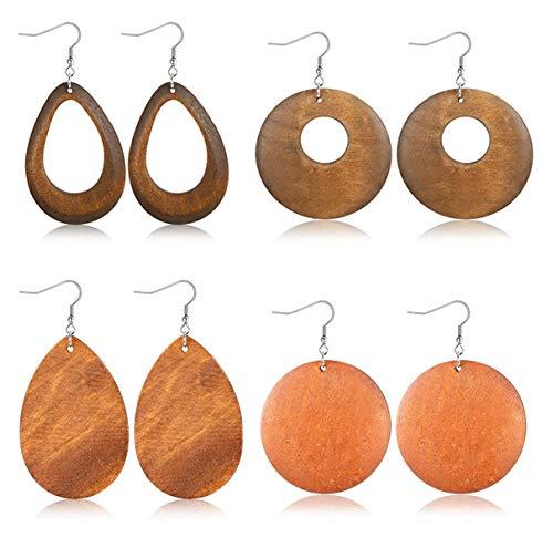 Finrezio 4Pairs Ethnic Wood Drop Earrings for Women Girls Statement Dangle Earrings Stainless Steel Hook