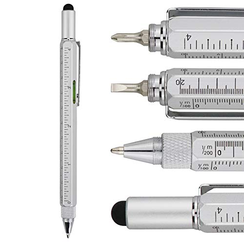 HeTaoCat Metal Multi tool Pen 6-in-1 Stylus Pen - With Screwdriver, Phillips Screwdriver, Flathead Bit Slotted Screwdriver, Ballpoint Pen Black ink, Stylus pen, Bubble Level and Ruler (Silver)