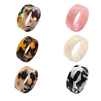 TOOLIPOUR Colorful Stacking Resin Rings for Women Floral Acrylic Rings Bohemian Stackable Band Rings Set (Colorful)