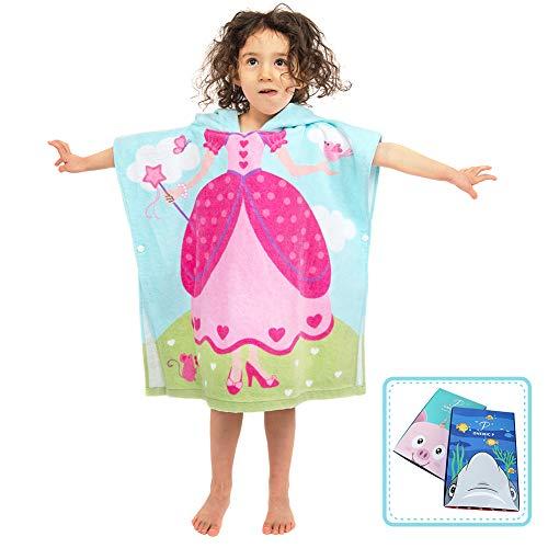 Florica Kinder Baumwolle Poncho Kapuzen Badetuch Bademantel Schwimmen Strand Tuch Weich Trocknend Cartoon für Mädchen Jungen (Prinzessin, 120cm x 60cm)