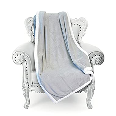 Super Soft Fuzzy Throw Blanket 50 x 70 , Reversible Luxury Flannel Velvet Plush Solid Blanket, All Season Cozy Bed Couch TV Blanket (Light Grey)