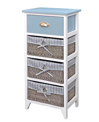 ts-ideen Landhaus Kommode Schrank Bad Regal in grau Weiss mit Einer Schublade und DREI Körbe mit einem Stoffbezug in Blau