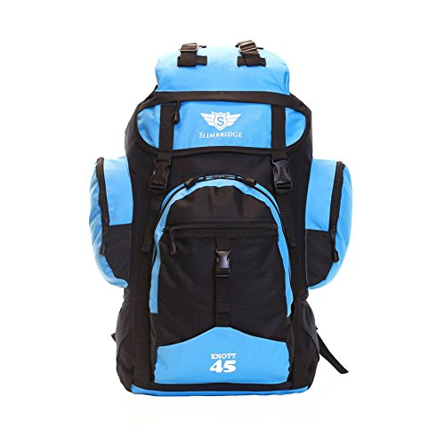 Slimbridge Large Travel Hiking Backpack Rucksack Bag 55 cm 1 kg 45 litres, Knott Black & Light Blue