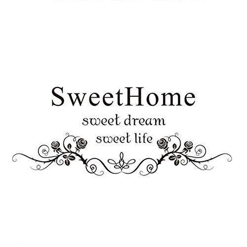 Depory Adhesivos de pared inspiradora Sweet home Pegatina de pared vinilo para Dormitorio sala café decoración de la Pared, Vidrio, Puerta 24 * 57cm