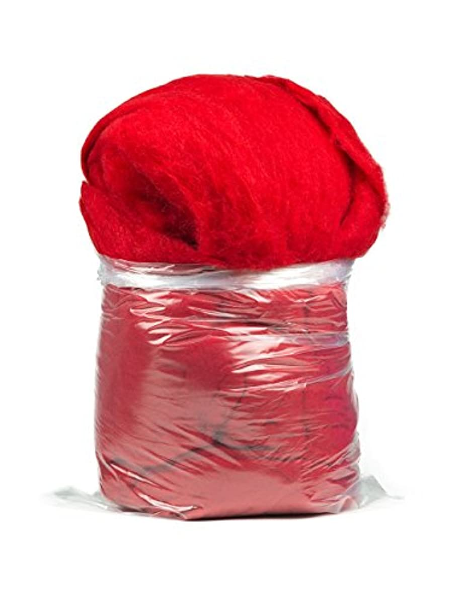 Carded Carbonized Felting Wool: 1 lb Bag, Red