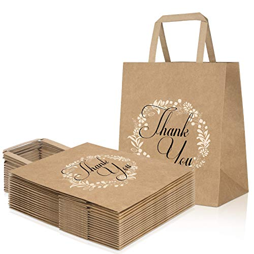 Thank You Gift Bags 50pcs, Bulk Brown Kraft Paper Bags with Handle for Retail Shopping, Goodies, Business, Wedding Favor, Size 8''x4.7''x10''